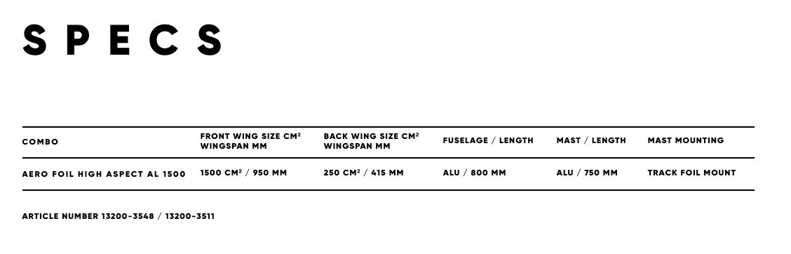 Fanatic Foil Aero high aspect 1500